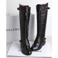 2013 plus size 40 - 43 flat heel female genuine leather boots