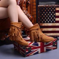 female spring and autumn medium-leg flat genuine leather tassel boots plus size