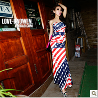 2013 fashion flag tube top tube top one-piece dress full dress one-piece racerback dress one-piece dress  Free shipping