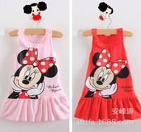 retail summer children's dress girl's sleeveless cartoon mouse dress kid's casual cotton dress