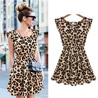 Free Shipping New 2013 Women One Piece Dress Leopard Print Casual Microfiber Sundress Plus Size Novelty Dresses