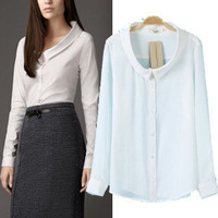 Solid Blouse Shirts Plus Size 2014 Hot Sale Women Fashion Spring Autumn Chiffon Turn-down Collar High quality Full 8026