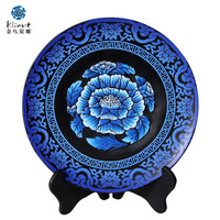 Golden eagle black carbon blue and white plate living room decoration activated carbon crafts home decoration housewarming gift