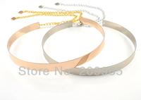 3pcs Wholesale 2014 Gold Silver Thin Metal Plate Mirror Waist Belts for Women Dress with Chain Cinto Feminino Cummerbunds Female