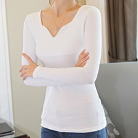 New Style Long Sleeve Threaded Cotton V-neck Shirt Bottoming Blouse S410