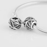 charm bead diy beads Lw305 925 pure silver leaves leuconostoc Christmas gift silver charms