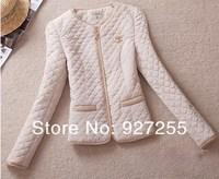 free shipping women vintage gold buckle epaulette pocket o-neck slim thin wadded jacket cotton-padded size M to 5XL biggest code