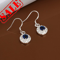 New Arrival 2014 AAA Quality Silver Plated 925 Classic Elegant Sunflower Sapphire Drop Earrings Woman Best Selling