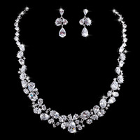 Real White Gold Plated Top Swiss Crystal CZ Bridal Wedding Jewelry Sets With Necklaces & Earrings For Valentine's Day Gifts