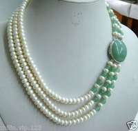 Charming Women's Jewelry 3 row white freshwater pearl jade necklace