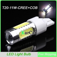 11W T20 CREE R5 + COB Chip with Lens LED Brake Light, W21W Car Backup Light Wedge Lamp Tail Lights Free Shipping