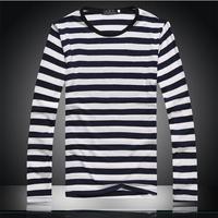 Hot-selling Free shipping 2014 stripe T-shirt slim handsome navy style o-neck tshirt male Men 's T-shirt Long sleeve 066