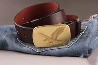 100% Genuine Leather 2014 Men Vintage Belt Fashion Solid Brass Eagle Buckle Man Jeans Strap Male Cowhide Cinto Ceinture MBT0115