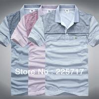 Free shipping 3 colors M L XL XXL XXXL 2014 new brand men cotton T-shirt logo embroidery short sleeves men T-shirt MKT130048
