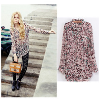 CS0404 2014 women's fashion long sexy leopard print pleated cotton shirt v-neck long-sleeve thin top female Blouses