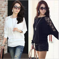 NEW!! 2014 women's mm plus size batwing shirt loose lace o-neck long-sleeve T-shirt basic shirt