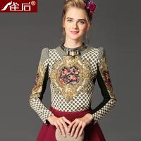 Free shipping! European 2013 vintage print butterfly bow tie basic shirt top, women's Baroque shirt