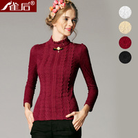 Free shipping! 2013 pullover long-sleeve thick lace basic shirt women's sweater