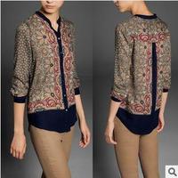 2014 autumn new European style fashion location vintage printed long sleeve blouses shirt WCS11324