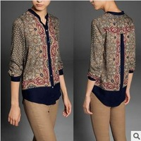 2013 autumn new European style fashion cotton printed long-sleeved shirt WCS11324
