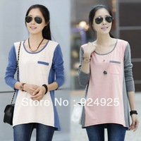 Pregnant women clothes 2014 Spring new Korean long-sleeved round neck T-shirt big yards loose casual clothing maternity dress