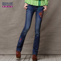 free shipping Bell-bottom butt-lifting water wash applique women's bell-bottom jeans mid waist slim trousers 732