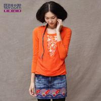 2013 basic shirt national trend o-neck faux two piece  women long-sleeve t-shirt 1751