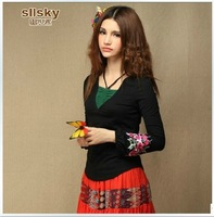 2013 women's spring national trend faux two piece embroidered long-sleeve basic shirt slim long-sleeve T-shirt 764