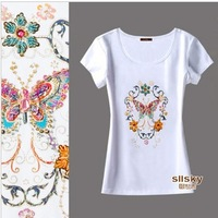 Flowers ! high quality beaded 2013 plus size clothing short-sleeve T-shirt 447