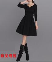 free shipping Double women women's autumn and winter one-piece dress . mid waist slim one-piece dress