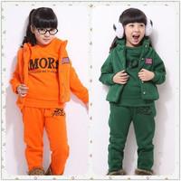 2013 children's clothing male female child spring child three piece set sweatshirt set
