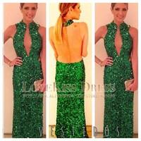 2014 Sexy Vestidos De Fiesta High Neck Sleeveless Green Sequined Lace Long Evening Dress DYQ510