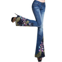 free shipping M 2013 original design national trend embroidered jeans female boot cut trousers embroidery beading lace