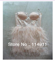 Wholesale - an ostrich feathers, mini type, cocktail party dress