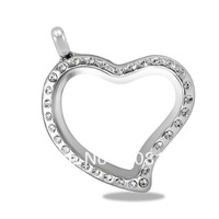 Free shipping silver color 30mm heart magnetic glass floating charm locket with rhinestones memory lockets  6pcs