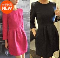 Dress Women Plus size small elegant jacquard clipping relievo three-dimensional decorative pattern fabric bud one-piece dress