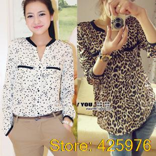 2014 blusas dudalina camisas roupas femininas leopard star print plus size long sleeves vestidos de chiffon women shirt blouse
