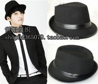 Free Shipping Small fedoras leather black fedoras jazz hat british style cap hip-hop cap