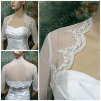 2014 Ivory elbow length sleeve dot lace bolero bridal bolero bridal jacket wedding bolero wedding jacket wedding shrugTB007