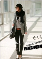 Free Shipping Fashion Solid Women Blazer Single Breasted Notched Long Length Wool Wool Cotton Slim Thick Black Grey S~XL