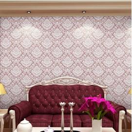 Non woven gümüş klasik şam çiçek desen duvar rulo oturma oda