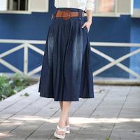 New arrival 2014 wearing white loose denim skirt female bust skirt spring and summer plus size expansion skirt long skirt