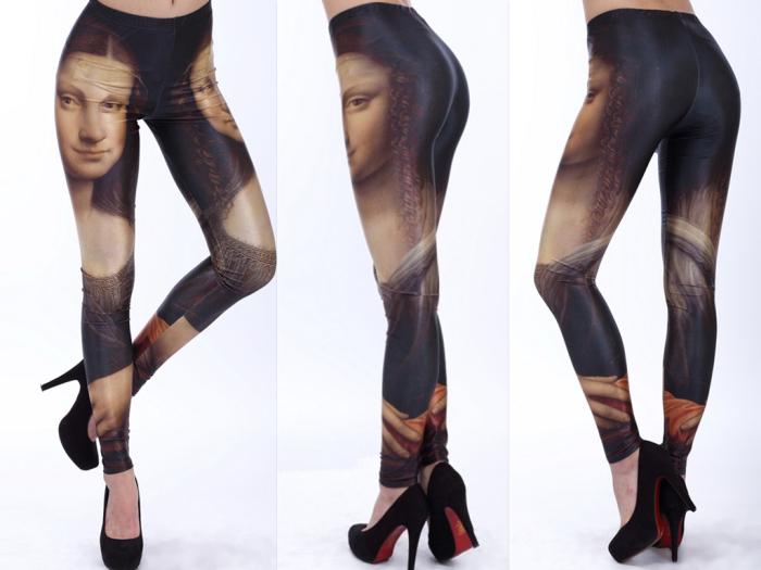 Wholesale Fashion 2013 Women Costume Leggins Galaxy Digital Printing Pants Mona Lisa Leggings For Women(China (Mainland))