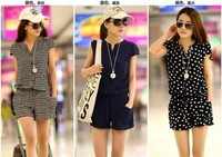 [S962] 2014 stitching collision ladies culottes summer women dress jumpsuits