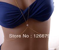 Freshwater Pearl Body Chain, Gold Silver Necklace Body Chain, Birthday Gift, Bodychain, Body Jewelry