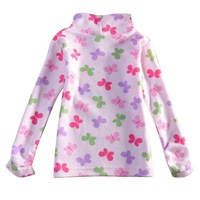 Free shipping!F2908#Hot selling Nova new 2014 Baby wear Girls' Fashion printed beautiful butterflies turtleneck Casual T-shirts