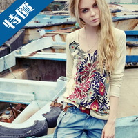 Autumn and winter NEW HOT Fashion trendy Cozy women ladies Noble clothes Tops Tees T shirt Long-sleeved peacock Print shirt MLXL