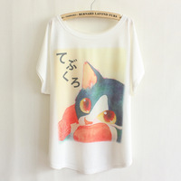 2015 new japanese style spring cartoon tees batwing tops cat printed fashion blouse homie pullover big size women t-shirt TS-067