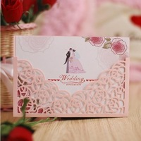 Laser cut rose flower & love heart style invitation card sleeve,menu pocket ,cards cover,100PCS/lot, Express free shipping