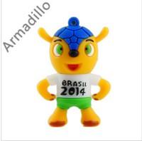 10pcs/lot Freeshipping New Cartoon Brazil Cup Mascot model usb 2.0 memory flash stick pen thumbdrive
